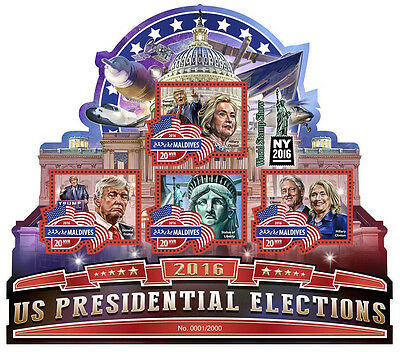 Maldives 2016 MNH US Elections Donald Trump Clinton 4v M/S Statue Liberty Stamps