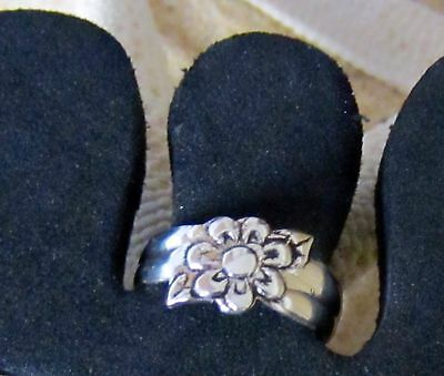 Toe Ring Sterling Silver 925 Adjustable  Flower Band Midi Women Girl Fashion