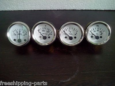 "2"" / 52mm Electrical Oil Pressure + Temperature + Amp + Fuel Gauge -White Face"