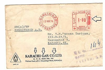 Pakistan Rare Meter mark Cover Used Bengali on Meter mark 1974 & Old SSGC Name