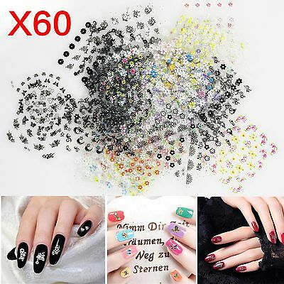 60X Sheets 3D Floral Design Nail Art Stickers Tips UV Decal Flower Manicure DIY