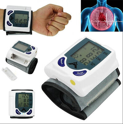 Digital LCD Wrist Cuff Arm Blood Pressure Monitor Heart Beat Meter Machine LotYL