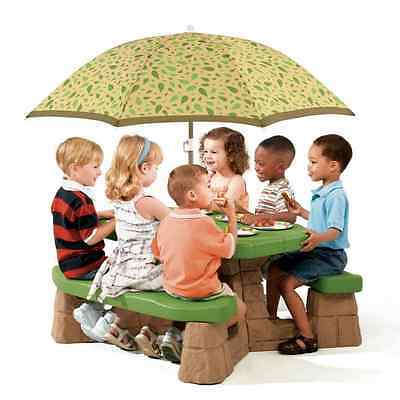 Step2 Picnic Table with Umbrella 6 Kids Outdoor Children Garden Play Toy