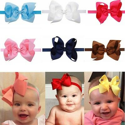"6"" Big Baby Girls Hairband Bow Soft knot Elastic Band Headband Flower Hair Kids"