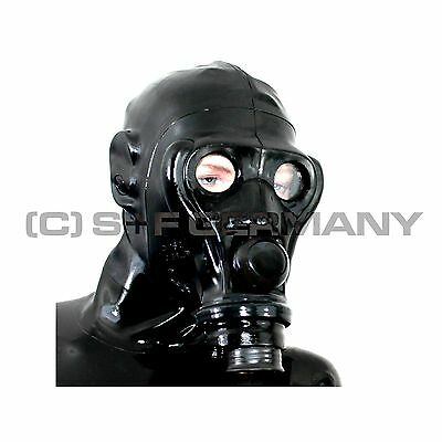 █ Deluxe Gas Mask + Hood Set For Fetish Shorts Pants Stockings Rubber Leather █