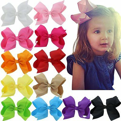 12PCS 6 Inch Baby Girls Big Grosgrain Ribbon Boutique Hair Bows Alligator Clips