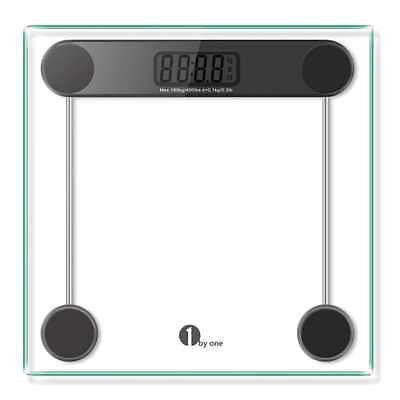 1byone Digital Body Weight Bathroom Scale, 180kg/400lb, Tempered Glass and Step-