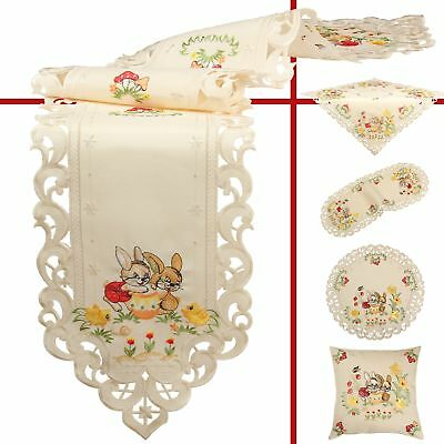 Easter Bunny Flower Tulip Embroidery Table runner Tablecloth Pillowcase Cream
