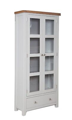 Dorset Oak Display Cabinet Solid Bookcase Pine in Painted French Grey