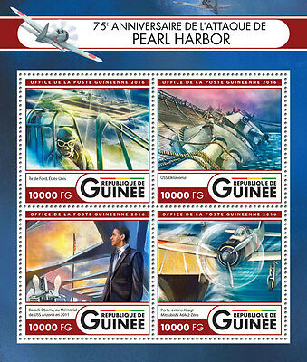 Guinea 2016 MNH WWII Pearl Harbor Attack 75th Anniv 4v M/S Ships Aviation Stamps