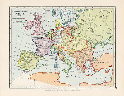 Map Of  Central and Western Europe Circa 1815  Original Printed 1910