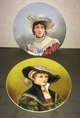 Pair Of Brownfield Pottery Wall Plaques (victorian Woman)
