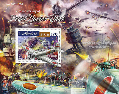 Maldives 2016 MNH WWII Pearl Harbor Attack 75th Ann 1v S/S Aviation Ships Stamps