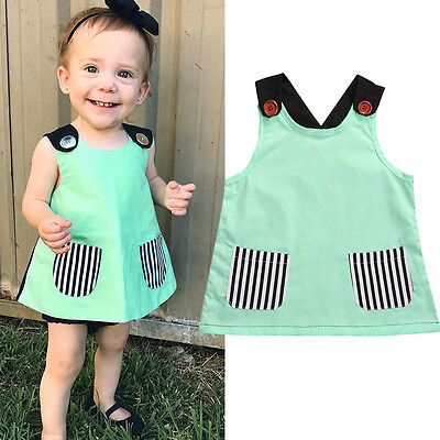 Toddler Infant Baby Girl Sleevelesss Casual T Shirt Blouse Cute Mini Dress Tops