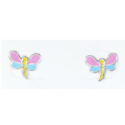 925 Sterling Silver Dragonfly Pink Blue Yellow Kids Girls Stud Earrings Gift
