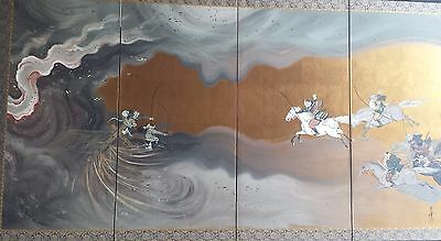 Beautiful Antique Japanese Four Panel Screen Painting Six Samurais Charging