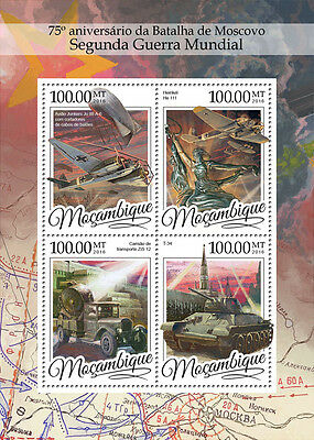 Mozambique 2016 MNH WWII Battle of Moscow 75th 4v M/S Aviation Tanks Stamps