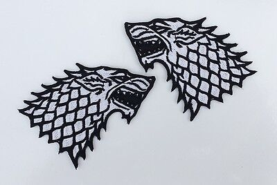 Pair Stark Winter is Coming Direwolf Game of Thrones Embroidered Iron on Patch