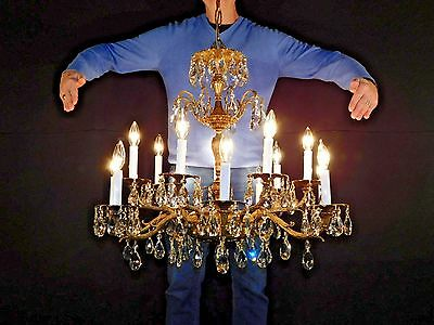 IMMENSE Antique French Empire 14 Light Bronze Brass Cut Lead Crystal Chandelier