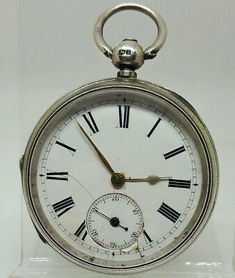 Antique solid silver gents fusee London pocket watch 1881