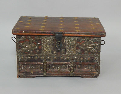 Early 19th Century Indian Hardwood & Brass Dowry Hope Chest Box, circa 1820