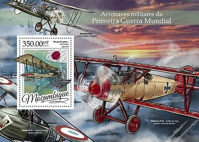 Mozambique 2016 MNH WWI Military Aircraft 1v S/S Aviation World War I Stamps