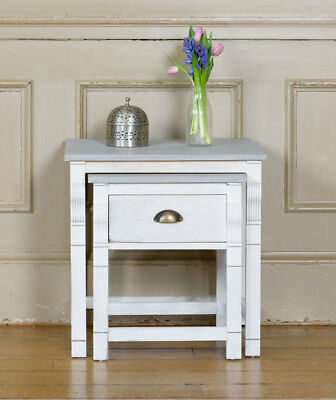 Shabby Chic Nest of Tables Set of Two White Wooden Grey Nesting Living Room Coff