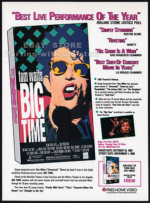 TOM WAITS : BIG TIME__Original 1989 Trade Print AD / promo advert__Ralph Carney