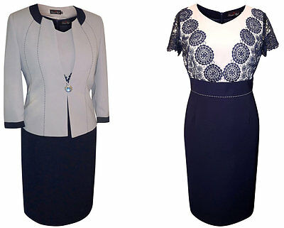 Size 16 Mother Of The Bride Groom Outfit Formal 2 Piece Jacket Dress Grey Navy