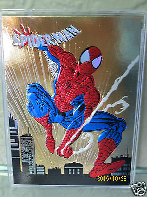 1992 Super Rare Spider-Man Gold Foil Uncirculated Sample Card Brilliant Foil