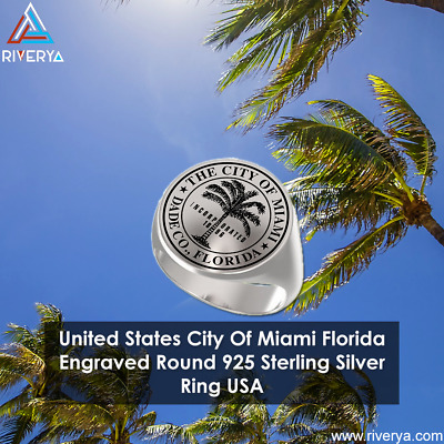 United States City Of Miami Florida Engraved Round 925 Sterling Silver Ring USA