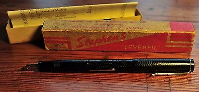 Vintage STEPHENS Leverfil No.56 restored fountain pen with box and 14ct.gold nib
