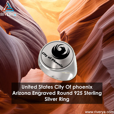 United States City Of phoenix Arizona Engraved Round 925 Sterling Silver Ring