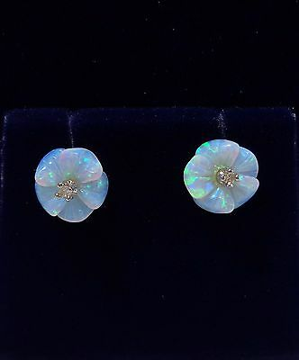 9ct Yellow Gold Opal 'Flower' Stud Earrings with Diamond