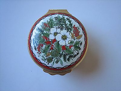Halcyon Days Enamels Red Christmas 1983 Flip Top Trinket Pill Box - Sold As Is