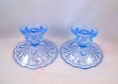 Cambridge Caprice Moonlight Blue Taper Candle Holders