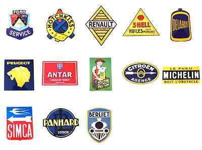Lot Of 13 Vintage Signs Advertising Ford Shell Michelin Auto Retro Auto Werbung