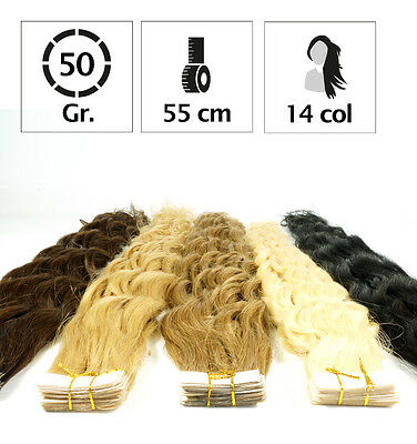 Extension Frise Tape Bande Adhesive Cheveux 100% Naturels Indian Remy Hair 55Cm