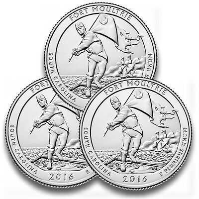 3x US Quarter National Park 2016, Fort Moultrie DPS Mint unc.