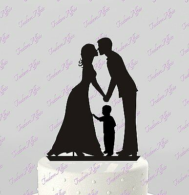 Wedding Cake Topper Silhouette Groom and Bride with Little Boy - Family Acrylic