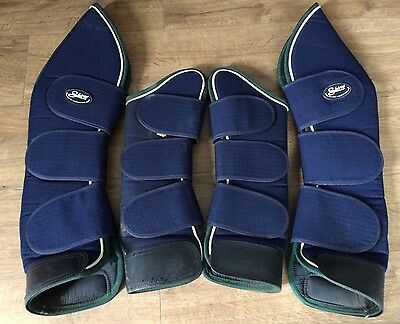 SHIRES Navy With Green Trim Pony Size Small Full Leg Travel Boots Full Set Of 4