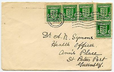 GUERNSEY 1942 OCCUPATION 1/2d x 5 FRANKING COMMERCIAL MAIL to HEALTH OFFICER