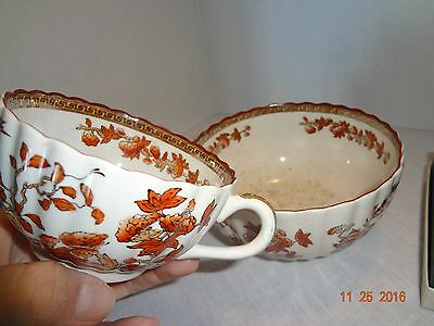 Copeland Spode England India Tree Old Mark Tea Cup and Soup Bowl Orange Rust