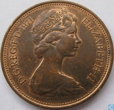 1971 new pence 2p coin, for collections