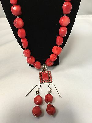 Vintage Sterling Silver Natural Red Coral Bead Necklace Earrings Jewelry Set