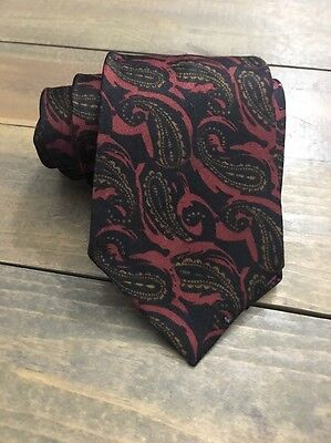 Glenoro Red Black Gold Paisley Classic Poly Silk Mens Neck Tie