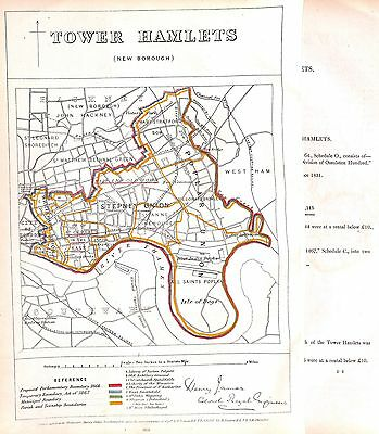 Fine.Tower Hamlets.Boundary Commissioners report.London.1868.Antique.London map