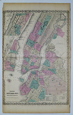 1865 Genuine Antique map of New York City, Brooklyn. Signature Border. Colton