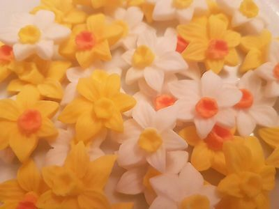 16 Edible Sugar Daffodils Spring Flowers Easter Birthday Cake Cupcake Toppers