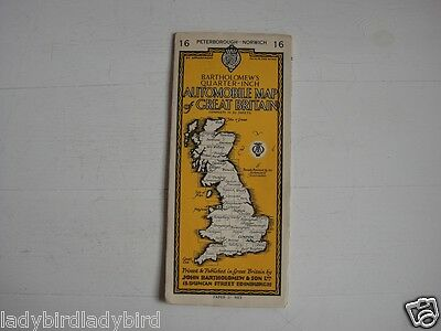 Bartholomew's Automobile Map Peterborough and Norwich Map 16 - Yellow Cover